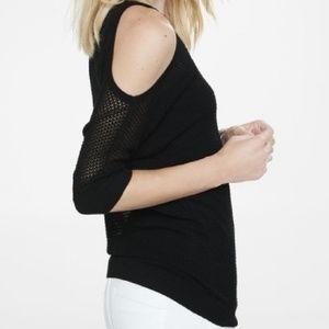 Express black open knit cold shoulder sweater